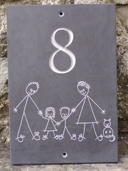 Individually designed our welsh slate house number